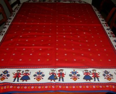 Vintage Tablecloth~Bright Red~Folk Art Design~100% Baumwolle Cotton~Oblong~New