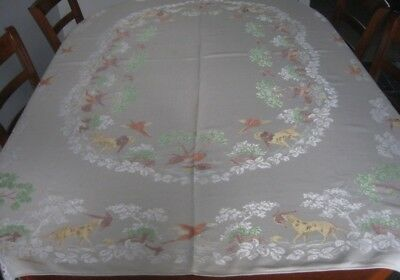 Vintage Damask Tablecloth & Matching Napkins ~ Birds/dogs ~ Cream ~ Oblong