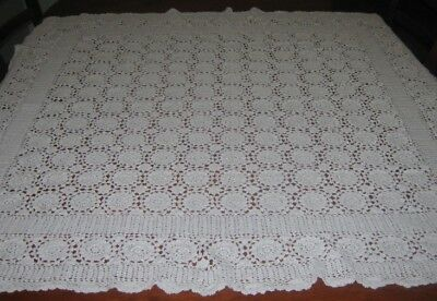 Vintage Crocheted Lace Tablecloth ~ White ~ Square