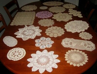 Vintage Crocheted Lace Doilies ~ Bulk Lot 20 Pieces