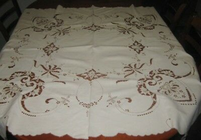Vintage Tablecloth ~ Embroidered/cut Out Work  ~ Linen ~ Cream & Beige ~ Square