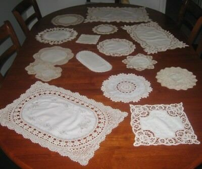 Vintage Cotton Lace Edged Table Runner & Doilies ~ Cream ~ Bulk Lot 16 Pieces