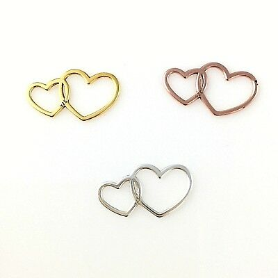 Sterling Silver 18K Rose Gold Plated 24K Gold Plated Double Heart Charm 2PC 10PC