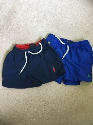 Boys Ralph Lauren Swim Shorts Size 3T Age 2-3 Two Pairs Navy And Blue