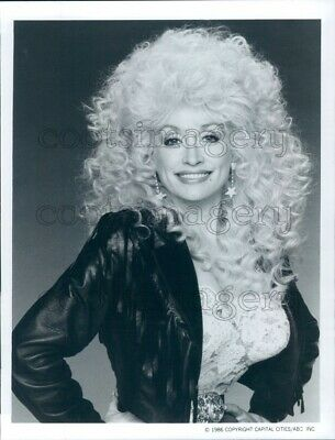 1986 Press Photo Pretty Country Music Singer Dolly Parton Black Leather Jacket