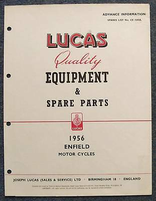 LUCAS ENFIELD Motorcycle Advanced Spares List 56 #1243A