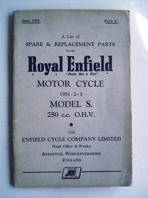 ROYAL ENFIELD MODEL S - Motorcycle Spares List - 1951-1953 - #M-653