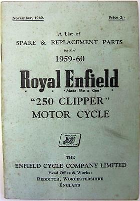 ROYAL ENFIELD 250 Clipper - Motorcycle Owners Parts List - 1959 -#759/2½M-1160