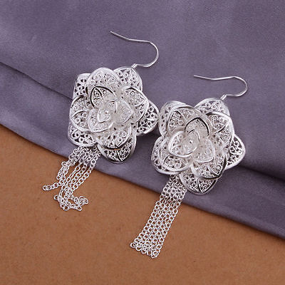 Womens 925 Sterling Silver Rose Earrings Drop Dangle Stud Silver Flower Earrings