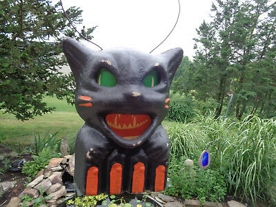 Halloween Black Cat on Fence Lantern w Bale Handle Seasons Gone By