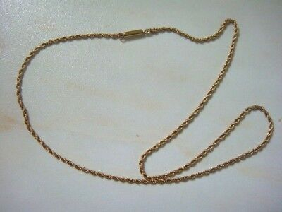 Antique Victorian  9Ct Gold Rope Chain 15 1/2 Inches With Original Barrel Clasp