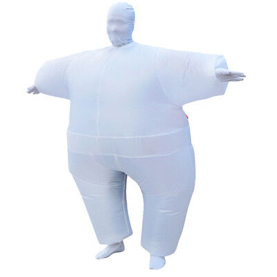 Adult Inflatable Fancy Chub Costume Halloween Party Fat Suit Dress White