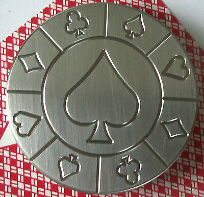 Spade, Stainless Steel Round Poker Card Protector Card Guard Paper Weight
