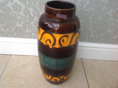 Large Fat Lava Floor Vase by Scheurich of West Germany decorated in orange / tea