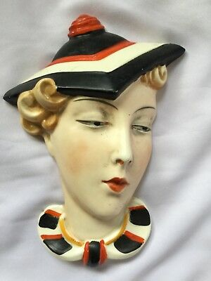 Original Czech Art Deco China Wall Mask Lady Face  Plaque ..