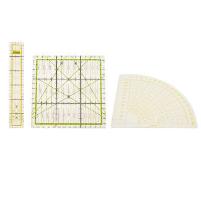 3x Rectangle Square Sector Plastic Quilt Patchwork Ruler DIY Sewing Quilting