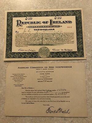 1920 Republic of Ireland $10 War Bond Certificate With Paperwork
