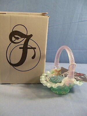 Fenton Hand Painted Green Glass Miniature Basket Aztec Design Limited Ed #3 of 4