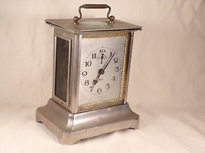 Antique French Carriage Clock with Musical Movement Visible Escapement Rare