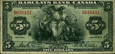 $5 Fine Barclays Bank Canada 1935 note - R L Borden signature