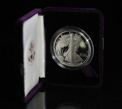 1990 US Mint American Eagle 1oz Silver Proof Coin with Case & COA [06DUD]
