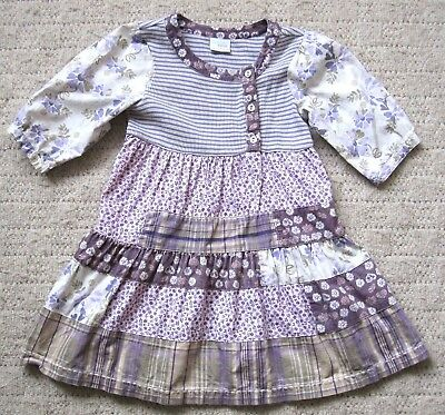 Next Girls Full Length Dress Tiered/panelled Vintage Art Style Age 3-4 Years
