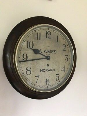 """Antique Wall Clock A. Ames of Norwich 12"""" English Dial London Enfield Oak Cased"""