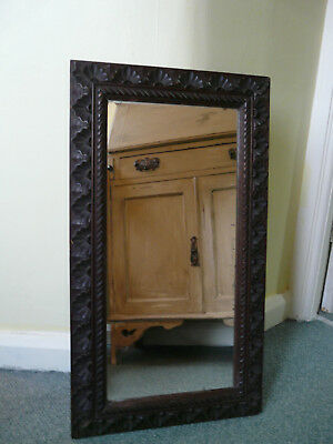 Beautiful Carved Oak Arts and Crafts Mirror Silvered Glass, Scalloped 28""