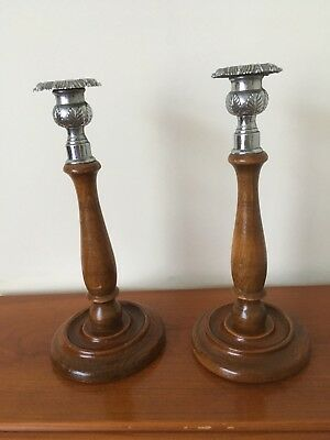 A Pair Of Vintage Chrome-Topped Turned Wood Candlesticks.