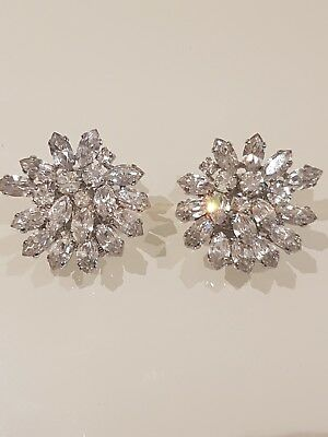 Vintage Christian Dior Clip On Diamante White Crystal Earrings