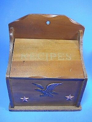 Vtg Lobeco Japan Wood Recipe Box metal Eagle Stars wall hanging standing