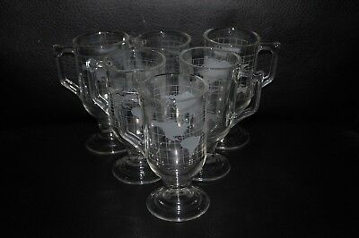 Nestle World Globe Mugs Etched  Footed Set of Six