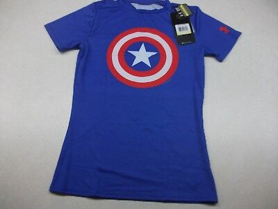 Under Armour Boys Captain America Blue Compression Shirt,youth Medium,free Ship