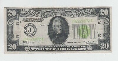 Federal Reserve Note  $20 1934 vf