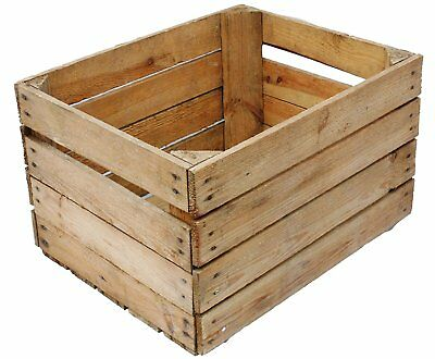European Vintage Wooden Apple Fruit Crate Rustic Old Bushel Box Christmas Hamper