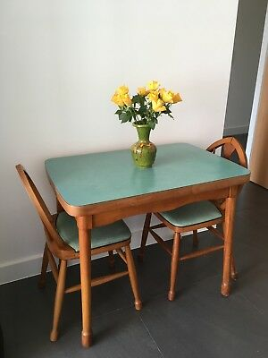 Cute Vintage Mid Century Retro Green Pastel Formica Table & 2 Chairs
