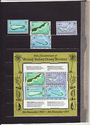 British Indian Ocean - 1975 10Th Anniv Of Territory Maps Set 4 + Minature Sheet