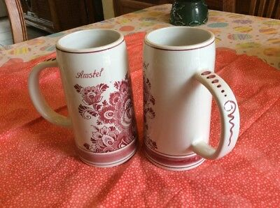 """Set of 2 Vintage Amstel Stein Delft Red Ceramic made in Holland 6 1/4"""" tall"""