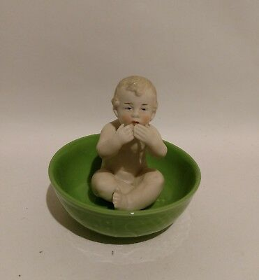 German Antique Heubach Bisque Porcelain Piano Baby Child in Bath Tub Green Basin