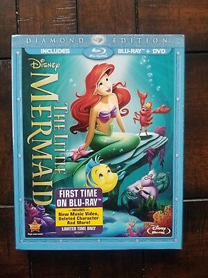 New Sealed Disney The Little Mermaid Blu Ray Dvd 2 Disc Set  Rare Oop Slipcover