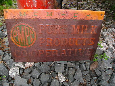 Vintage Embossed Member Pure Milk Products CO-OP Metal Farm sign