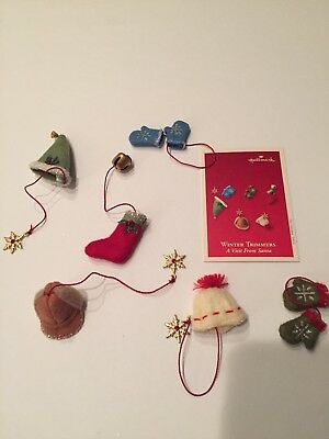 2003 Hallmark Winter Trimmers Visit from Santa Set of 6 Ornaments New Mint