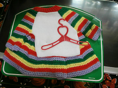 Vtg Baby Doll Sweater Skirt Hanger Colors Whit Red Green Yellow Blue NOC