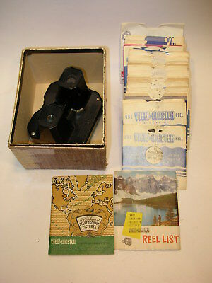 Vintage SAWYER VIEW-MASTER Stereoscope + 40 REELS & REEL-LIST