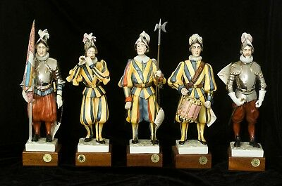 All 5 Guido Cacciapuoti figurines Swiss Guard Papal Army porcelain figurines