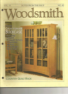 Woodsmith Magazine December 1993 Craftsman's Bookcase Quilt Rack Smoothing Panel