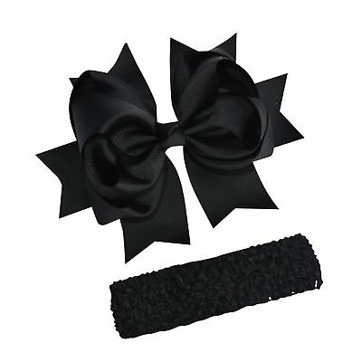 """Bzybel Little Girl's 7.5"""" Boutique Spike Big Hair Bow Clips Grosgrain Ribbon ..."""