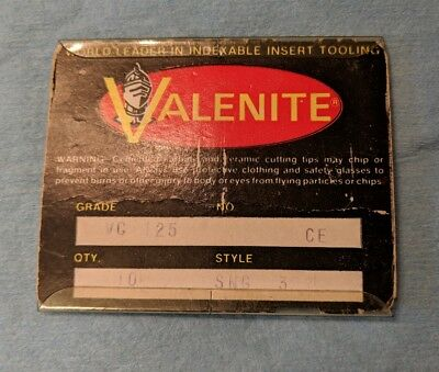 10 pcs. SNG 3 Valenite Grade VC125 Package of 10 NEW Old Stock No. CE Machinist