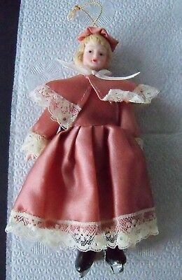 Vintage Victorian style ceramic Ice Skater Doll Christmas ornament Banner Taiwan