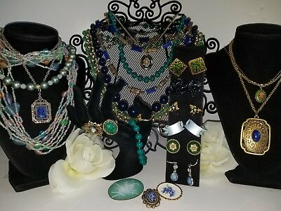 Vintage Lot of 25 Pieces of Blue & Green Jewelry - Coro, Napier, Japan